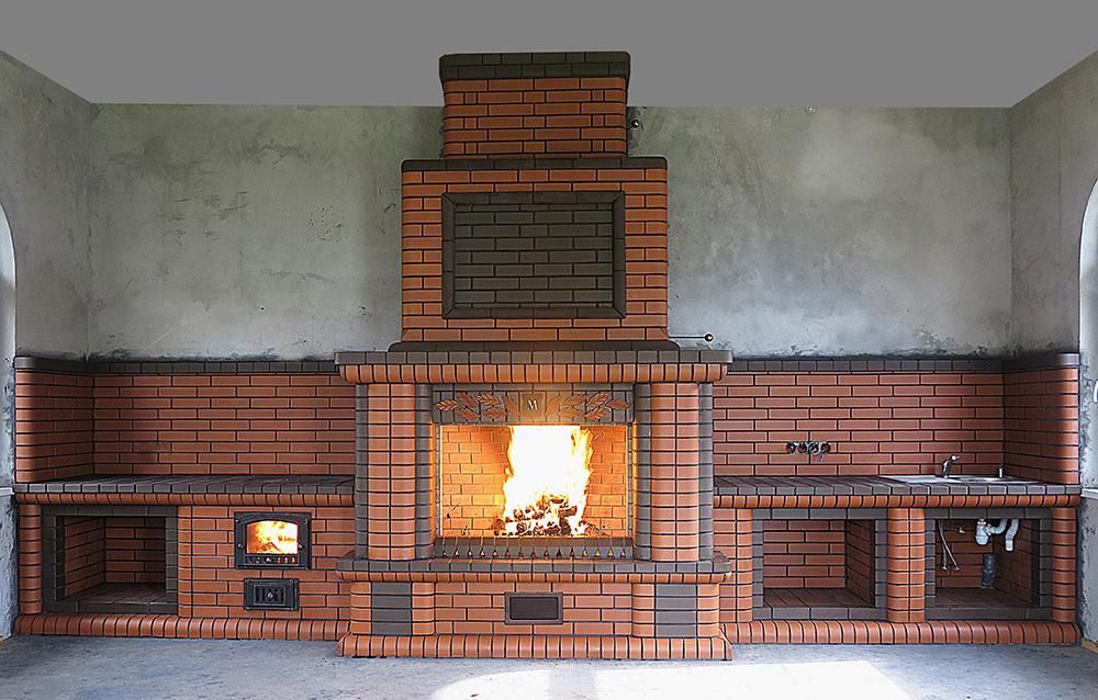 Дизайн камина барбекю